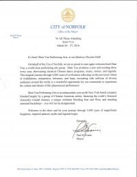 诺福克市长保罗‧弗莱姆(Paul Fraim)欢迎神韵为社区带来艺术盛宴。(大纪元资料室)