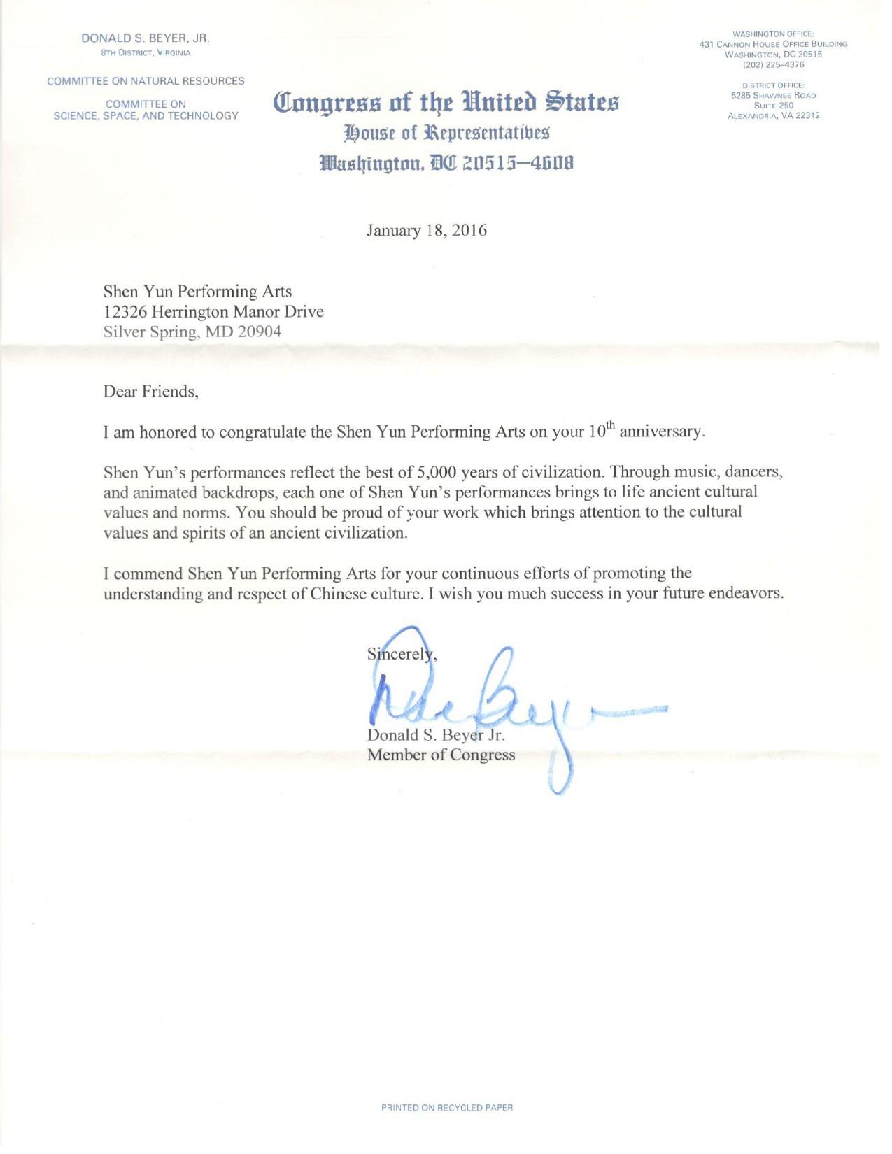 美国会众议员唐纳德‧拜尔(Donald S.Beyer)向神韵发来贺信。(大纪元资料室)