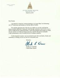 美国联邦参议员马克‧沃纳(Mark R. Warner)向神韵发来贺信。(大纪元资料室)