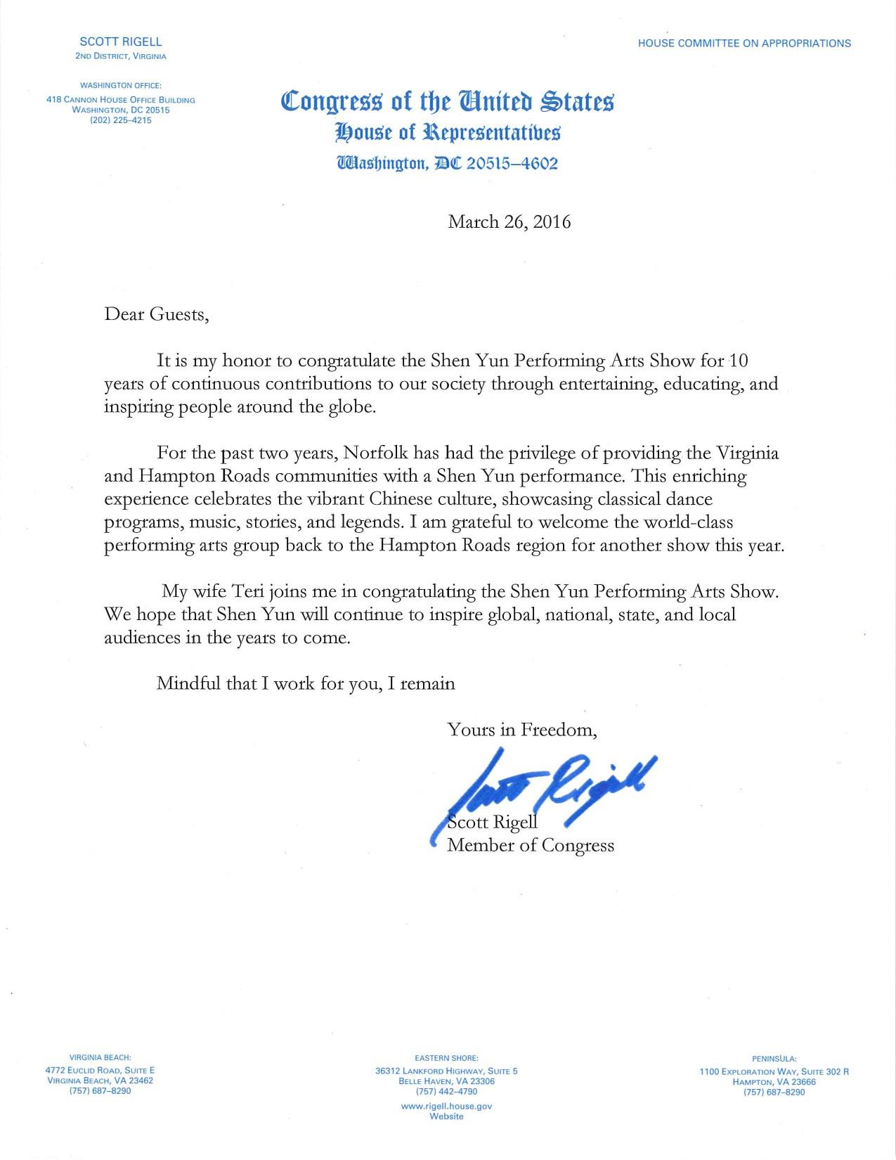 美国会众议员斯科特‧里热尔(Scott Rigell)向神韵发来贺信。(大纪元资料室)