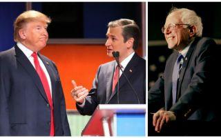 美国媒体认为,威州初选对科鲁兹来说,是能否阻止川普(左)获提名的关键。对于民主党排名第二的参选人桑德斯(右)来说,也是一场关键考验。(大纪元合成)