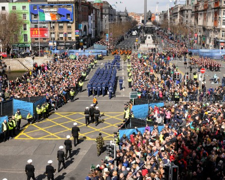 DUBLIN, IRELAND - MARCH 27: In this photo provided by the Air Corps Press Office, the view of the Parade from Roof of the Blood bank seen during the military parade marking the 100th anniversary of the Easter Rising on March 27, 2016 in Dublin, Ireland. The 1916 rebellion was an attempt by Irish forces to overthrow the British government in Ireland. Although unsuccessful it was seen as a significant move in the creation of the Irish republic when public opinion turned in favour of the rebels after British forces defeated the rebellion and executed it's leaders. (Photo by Irish Defence Forces via Getty Images)