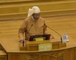 缅甸全国民主联盟推举的新总统吴廷觉,于2016年3月30日在联邦议会正式宣誓就职。(ROMEO GACAD/AFP/Getty Images)