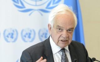 3月30日,移民部長麥家廉在日內瓦聯合國難民大會上發言。(加通社)