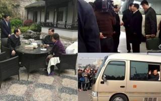 胡錦濤日前回鄉泰州後,江蘇省省長石泰峰(左圖左一)到胡錦濤住處拜訪。(網絡圖片)