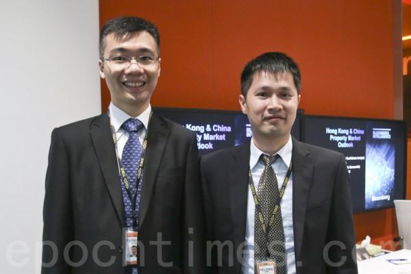 彭博行业研究亚太区房地产行业高级分析师黄智亮(左)估计,本港未来两季楼价会有回稳。(余钢/大纪元)