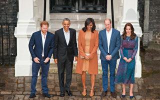 英国威廉王子夫妇22日在肯辛顿宫门口迎接美国总统奥巴马夫妇来访。图从左至右依为:哈利、奥巴马、米歇尔、威廉和凯特。(Dominic Lipinski - WPA Pool/Getty Images)