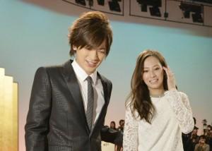 北川景子(右)和歌手DAIGO宣布婚讯资料照。(大纪元资料室)
