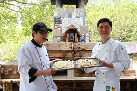 畢業於亞太餐飲系的黃科登(左1)與同伴製作烤披薩。(許享富 /大紀元)