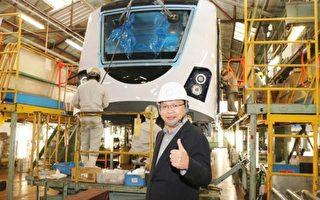目前於日本川崎重工組裝中的台中綠線捷運車廂,首度曝光、分享市民。(台中市政府提供)