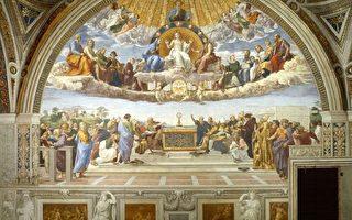 """梵蒂冈""""拉斐尔房间""""中的壁画《圣礼的争辩》(公有领域)"""