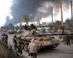 叙利亚反对派于2016年4月18日宣布,将对政府军展开新的反击战斗,显示双边的临时停火协议破局,并将威胁正在联合国召开的和平谈判。本图为2月21日,政府军聚集在阿勒颇电厂旁巡逻。(GEORGE OURFALIAN/AFP/Getty Images)