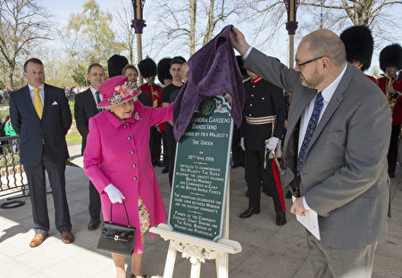 WINDSOR, ENGLAND - APRIL 20: Queen Elizabeth II officially opens the Alexandra bandstand on April 20, 2016 in Windsor, England. Her Majesty viewed an exhibition about the Bandstand and met children from the six schools involved in designing the bandstand's commemorative plaques. The Queen and Duke of Edinburgh are carrying out engagements in Windsor ahead of the Queen's 90th Birthday tommorow. (Photo by Arthur Edwards - WPA Pool/Getty Images)