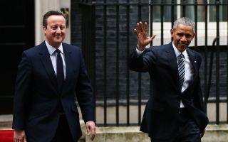週五(4月22日)奧巴馬跟英國首相卡梅倫在唐寧街10號會談,奧巴馬希望英國留在歐盟。(Dan Kitwood/Getty Images)