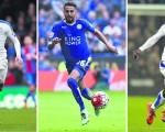 萊斯特队的瓦迪(左)、馬雷斯(中)、坎特(右)入選本年度英格蘭最佳陣容。 (GLYN KIRK/AFP/Getty Images)