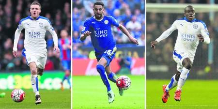 莱斯特队的瓦迪(左)、马雷斯(中)、坎特(右)入选本年度英格兰最佳阵容。 (GLYN KIRK/AFP/Getty Images)