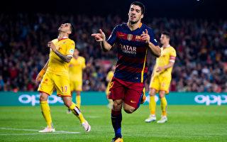 巴萨乌拉圭前锋苏亚雷斯连续两场比赛打进四球。(Alex Caparros/Getty Images)