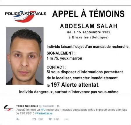 巴黎恐怖袭击发生后,法国警方曾向主嫌阿布德斯拉姆(Salah Abdeslam)发布通缉通告。阿布德斯拉姆是法国公民,生于比利时。(图片来源:法国国家警察官方推特)