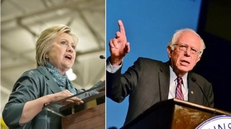 民主黨參選人希拉里(圖左)和桑德斯(圖右)(Getty Images/大紀元合成)