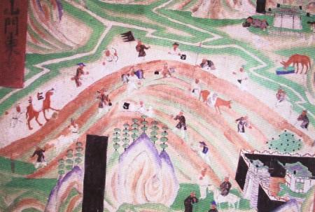 敦煌壁畫中描繪的往返於絲綢之路上的商隊。(公有領域)