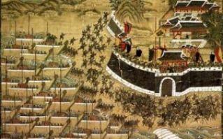描绘日军在釜山登陆情形的朝鲜画卷・釜山镇殉节图(公有领域)