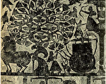 后羿射扶桑树上的十乌鸟(十日),山东嘉祥武梁祠汉画像石。(公有领域)