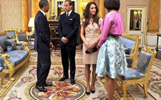 奥巴马总统与第一夫人米歇尔于2011年在伦敦会见威廉王子和公爵夫人。 (TOBY MELVILLE, AFP/Getty Images)