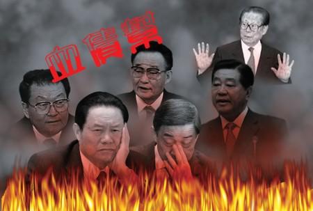 """中共江泽民集团利用一切社会和国家资源对信仰""""真、善、忍""""的法轮功学员的残酷迫害,不但导致中国社会道德全面下滑、中共的法律系统更被全面摧毁。(大纪元合成图)"""