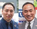 2016总统大选年,旧金山湾区的选战也异常激烈。图为联邦参议员候选人杨承志(George Yang,左)和硅谷加州众议员候选人郭宗政(Peter Kuo,右)(大纪元图片)