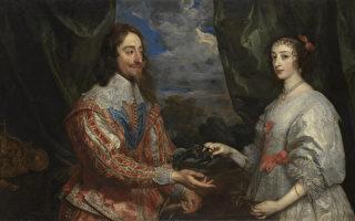 安东尼‧凡‧戴克(1599–1641),《拿桂冠的查理一世和玛丽亚‧亨丽埃塔》局部,1632年作,布面油画,纽约弗里克收藏馆藏。(Courtesy of The Frick Collection)