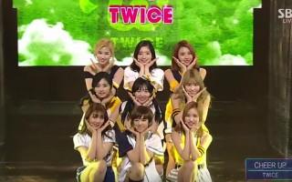 韓國女團TWICE新曲《CHEER UP》連續在3個音樂節目榮獲冠軍,人氣紅不讓。(視頻截圖)