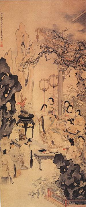 《李白作清平调图》,取自清苏六朋绘《清平调图》,广州美术馆藏。 (公有领域)