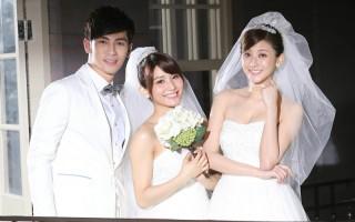 曾咏熙(中)主打歌《想遇见一个人》MV首度披上白纱,与漂亮师姐林逸欣(右)一同入镜。(喜欢音乐提供)