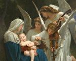 [法]威廉‧布格羅,《有天使的聖母》,又稱《天使之歌》(修復後的局部),布面油畫,1881年作,保羅‧蓋蒂博物館藏。(公有領域)