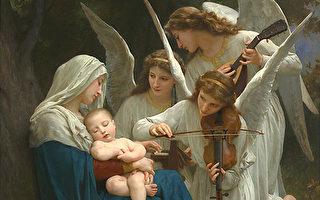 [法]威廉‧布格罗,《有天使的圣母》,又称《天使之歌》(修复后的局部),布面油画,1881年作,保罗‧盖蒂博物馆藏。(公有领域)