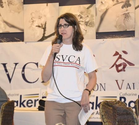 凯瑟琳·贝克在5月20日的筹款晚宴上演讲。(梁博/大纪元)
