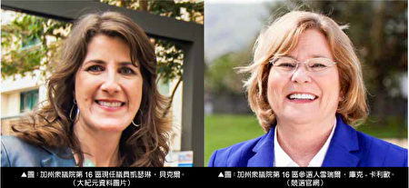 加州第16区众议员凯瑟琳‧贝克尔(左)与挑战者雪瑞尔‧库克-卡利欧。(大纪元合成图片)