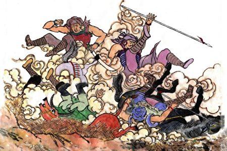 诸葛亮七擒七纵孟获,其中第四次,孟获骑着大红牛,率领蛮兵呐喊着冲向蜀军营寨,结果中了诸葛亮的计谋,全跌进陷阱里。(绘图:古瑞珍/大纪元)
