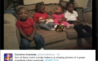 美國得克薩斯州東部帕拉斯坦市(Palestine)居民,64歲的艾斯貝雷(Lenda Asberry),週五午夜後洪水暴漲時,與四名6到9歲的孫子,被洪水全數沖走,週六清晨證實遇難。圖為艾斯貝雷家人提供四名遇難孩童小時候的照片。(推特截圖)