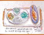 淡彩速写 / 咖啡馆的鱼排饭(图片来源:作者 邱荣蓉 提供)