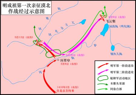 明成祖第一次親征漠北示意圖(Zhuwq/維基百科)