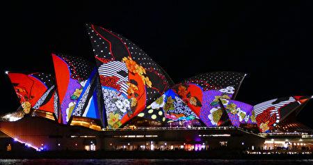 2016活力悉尼,被燈光點亮的悉尼歌劇院。(安平雅/大紀元)