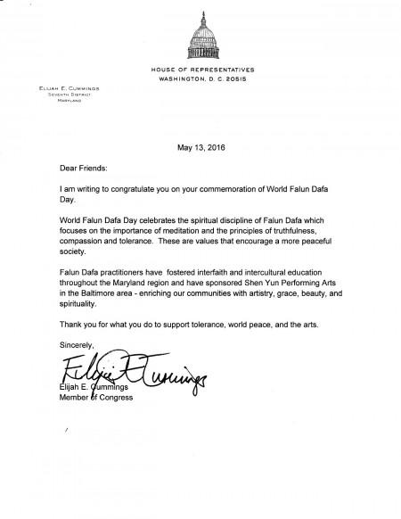 美國馬里蘭州聯邦眾議員伊萊賈‧E‧卡明斯(Elijah E. Cummings)致信祝賀世界法輪大法日。
