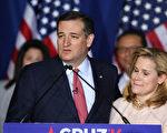 5月3日于印第安纳州,科鲁兹在太太海蒂的陪同下,宣布退出大选。( Joe Raedle/Getty Images)