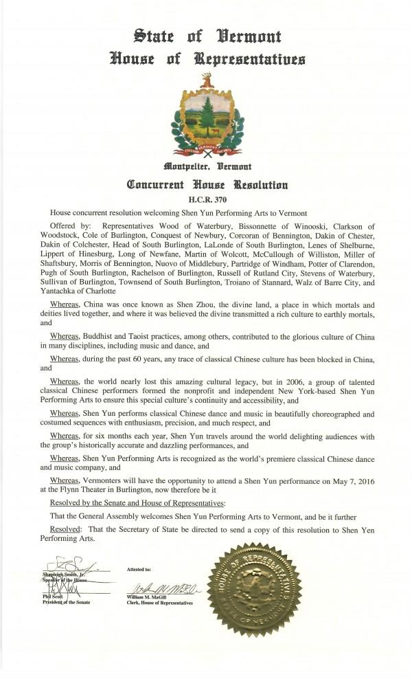 佛蒙特州参众两院通过决议案 热烈欢迎神韵