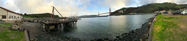 灣區探索博物館戶外有絕佳的金門大橋觀賞位置。(李歐/大紀元)