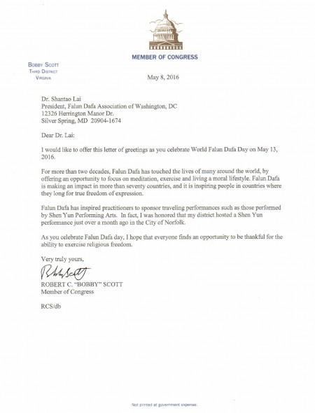 美國馬里蘭州聯邦眾議員羅伯特‧斯科特致信祝賀世界法輪大法日。