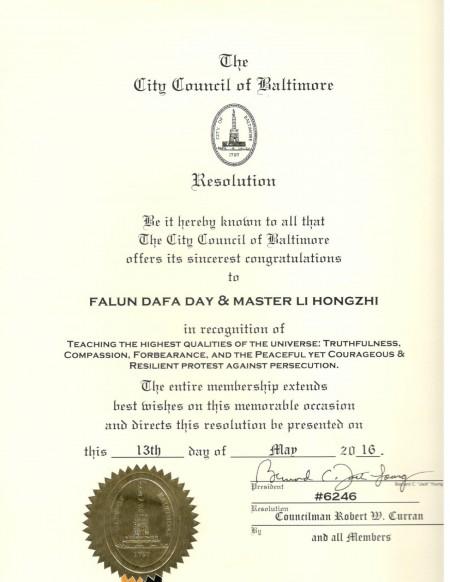美國馬里蘭州巴爾的摩市議會議員羅伯特‧卡蘭 (Robert W. Curran)及所有議會成員通過了第六二四六號決議,向李洪志大師和法輪大法日致以衷心的祝賀。