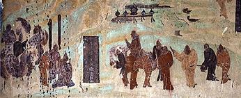 在敦煌莫高窟第323窟北壁上的张骞出使西域图,唐代初期绘制。(公有领域)