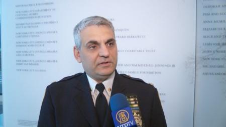 纽约市警总局预防犯罪科指挥官康福迪(Thomas Conforti)接受新唐人电视台独家专访。 (李凯文/大纪元)